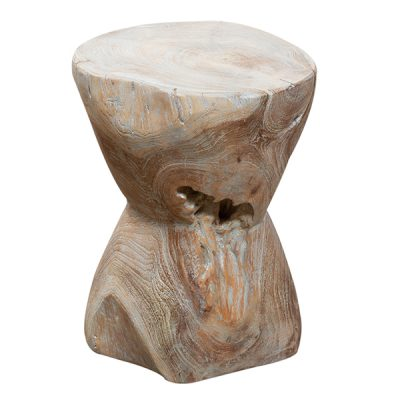 Round Teak Root Stool Side Table 30cm Grey