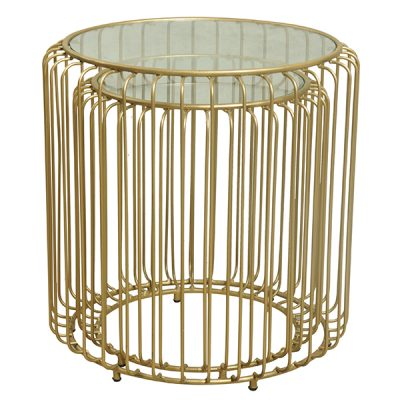 Songbird Gold Metal Nesting Tables Glass Top Round Set of 2