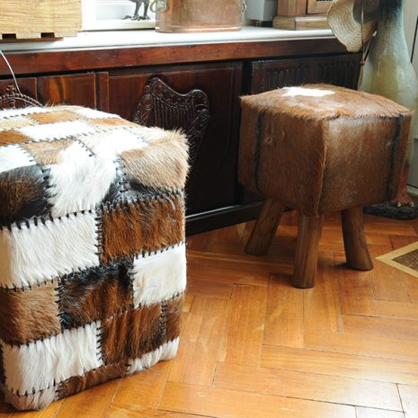 SQUARE_GOAT_SKIN_STOOL Square Patchwork Goat Skin Stool 47cm tall