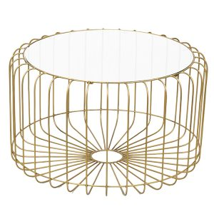 Songbird Gold Metal Coffee Table Glass Top Round 80cm