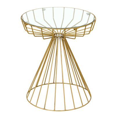 Songbird Gold Metal Side Table Glass Top Round 50cm