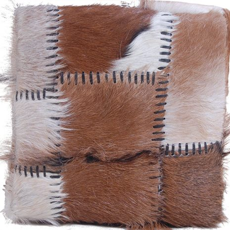 Square Patchwork Goat Skin Stool 47cm tall - top down view