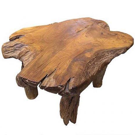 Bakulan Teak Root Coffee Table 100cm x 70cm - Four Legs, Polished Solid Wood Top