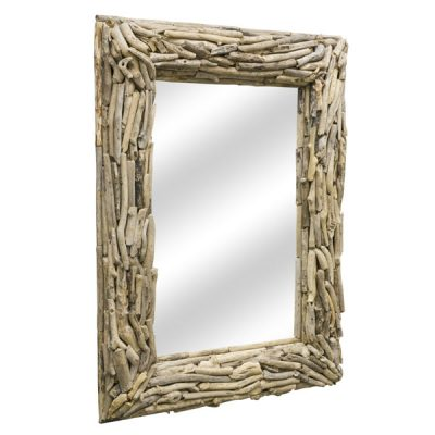 Beachcomber Rectangular Driftwood Sticks Mirror 80cm