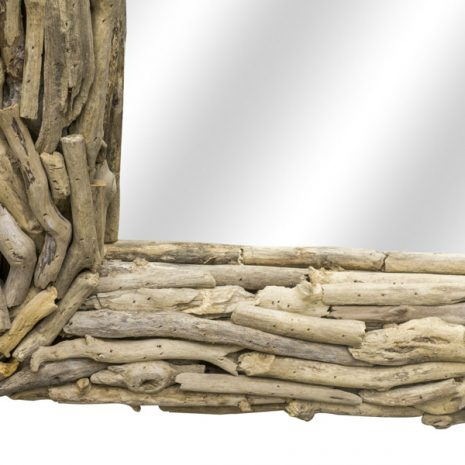 Beachcomber Rectangular Driftwood Sticks Mirror 80cm Corner close up 2