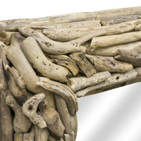Beachcomber Rectangular Driftwood Sticks Mirror 80cm Corner close up