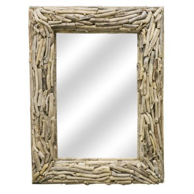 Beachcomber Rectangular Driftwood Sticks Mirror 80cm Face on