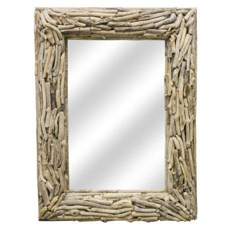 Beachcomber Rectangular Driftwood Sticks Mirror 80cm Face on