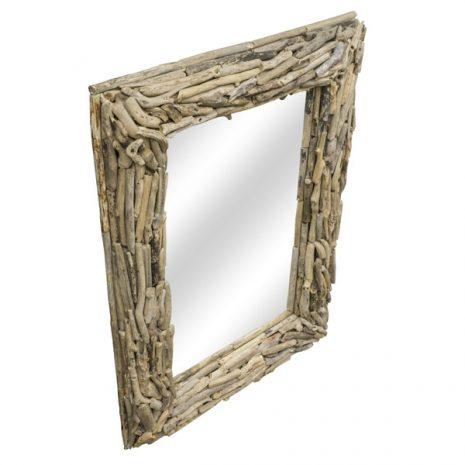 Beachcomber Rectangular Driftwood Sticks Mirror 80cm Three quarter view