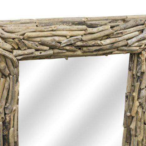 Beachcomber Rectangular Driftwood Sticks Mirror 80cm Top close up