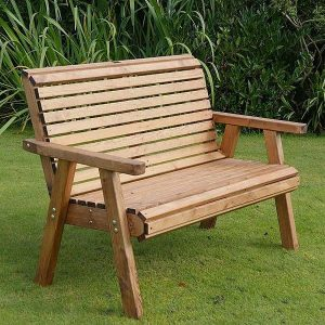 Bronte 2 Seater Small Garden Bench High Back 127cm flat packed
