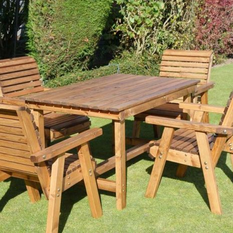 Bronte 4 Seater Garden Patio Dining Set Rectangular 135cm Table 4 Armchairs Sustainable redwood