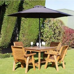 Bronte 4 Seater Garden Patio Dining Set Rectangular 135cm Table 4 Armchairs Sustainably Sourced Scandinavian redwood
