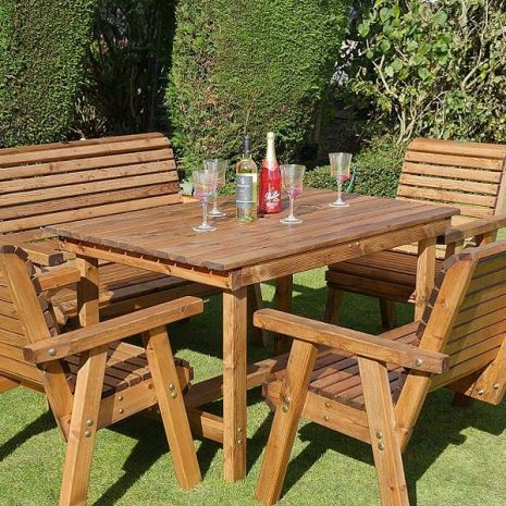 Bronte 6 Seater Garden Dining Set 135cm Table 2 Armchairs 2 Benches - Sustainably sourced Scandinavian Redwood