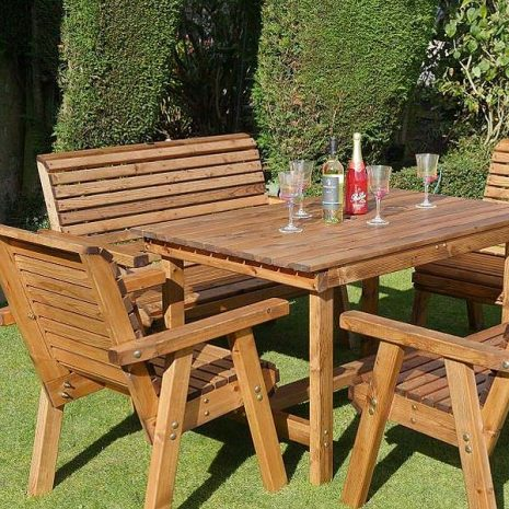 Bronte 6 Seater Garden Dining Set 135cm Table 2 Armchairs 2 Benches - Sustainable Wood