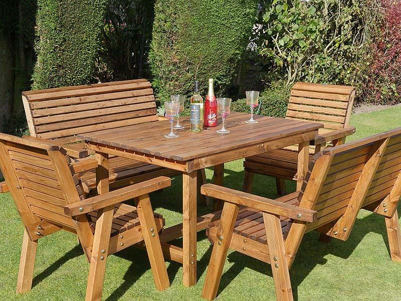6 Seater Sustainable Wood Garden Dining, Wooden Garden Furniture