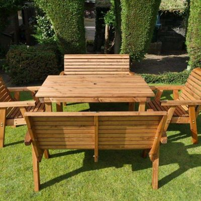 Bronte 6 Seater Garden Dining Set – 135cm Rectangular Table + 2 Armchairs + 2 Benches – Sustainable Wood