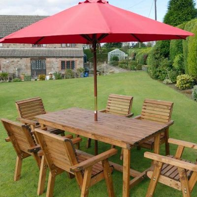 Bronte 6 Seater Rectangular Garden Dining Set - 180cm Table + Armchairs - Sustainable Wood + Parasol