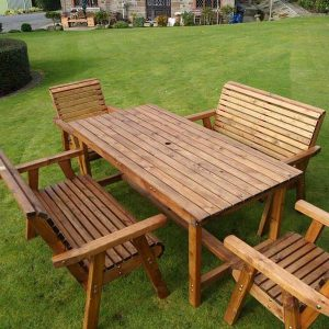 Bronte 6 Seater Sustainable Wood Garden Dining Set - 180cm Rectangular Table 2 Armchairs 2 Benches