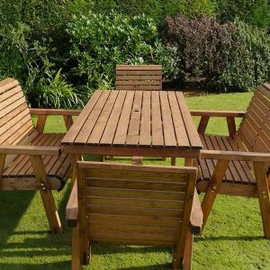 Bronte 6 Seater Sustainable Wood Garden Dining Set - 180cm Table 2 Armchairs 2 Benches