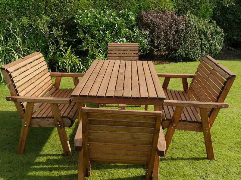 Awesome Bronte 6 Seater Sustainable Wood Garden Dining Set 180Cm Table 2 Armchairs 2 Benches Gmtry Best Dining Table And Chair Ideas Images Gmtryco