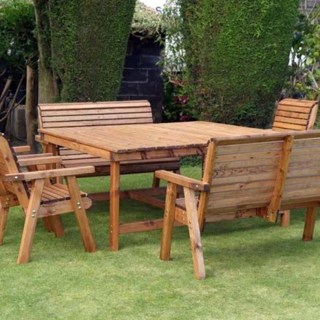 Bronte Large 8 Seat Garden Dining Set - Square Table 4 Armchairs 2 Benches - Sustainable Wood