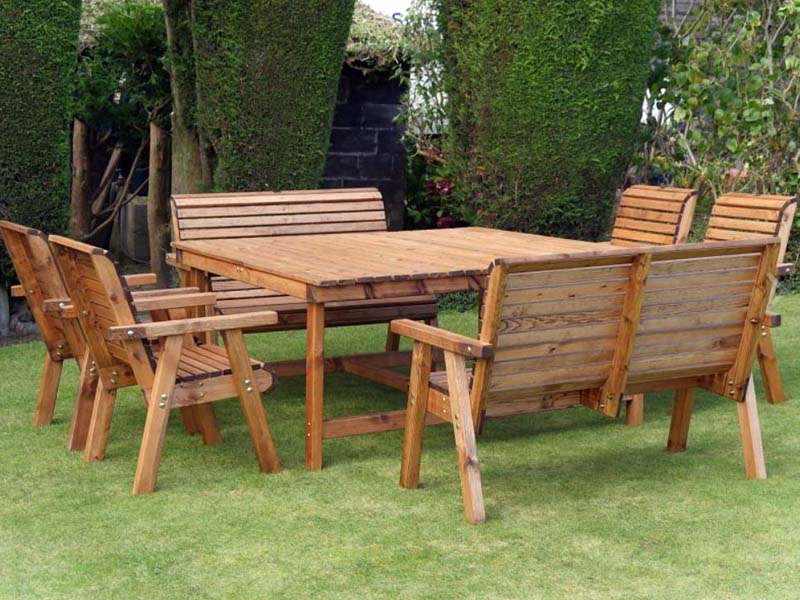 Peachy Bronte Large 8 Seat Garden Dining Set Square Table 4 Armchairs 2 Benches Sustainable Wood Gmtry Best Dining Table And Chair Ideas Images Gmtryco