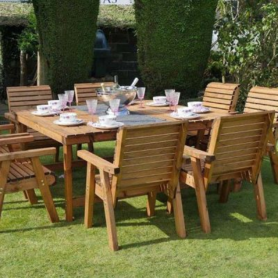 Bronte 8 Seater Square Garden Dining Set Sustainable Redwood - 168cm Table + 8 Armchairs