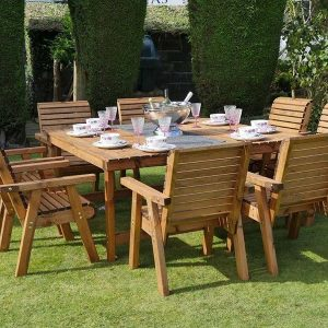 Bronte 8 Seater Square Garden Dining Set Sustainable Wood - 168cm Table + 8 Armchairs