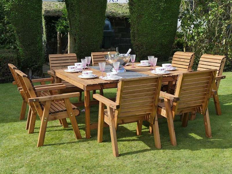 Square Garden Dining Set 8 Seater 168cm Sustainable Redwood Bronte