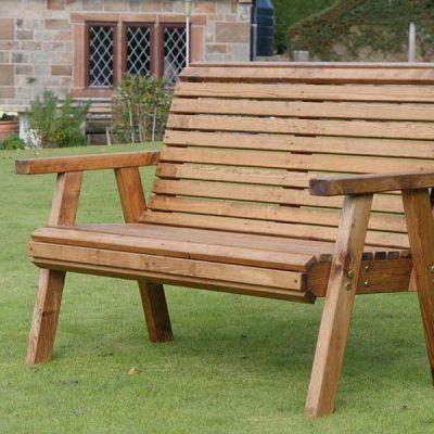 Bronte Wooden 2 Seater High Back Garden Bench 127cm