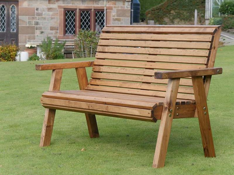 Small Garden Bench High Back 2 Seater Wooden Flat packed ...