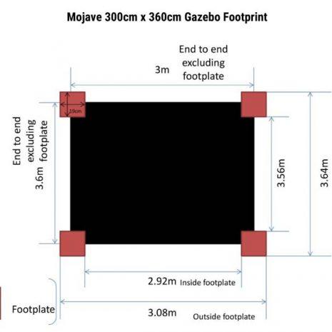 Mojave 300cm x 360cm Gazebo Footprint Dimensions