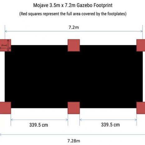 Mojave 350 x720cm Gazebo Footprint Dimensions