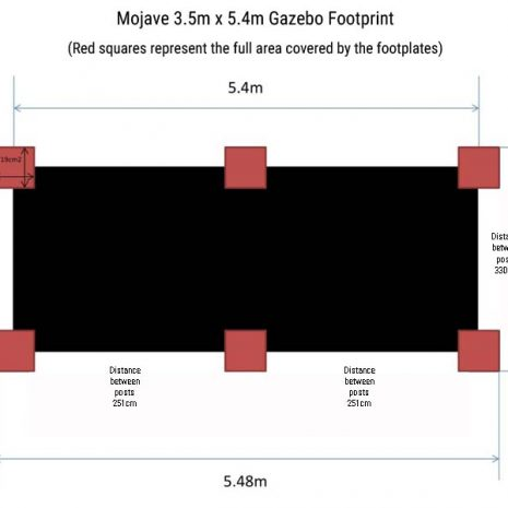 Mojave 350_540cm Gazebo Footprint Dimensions