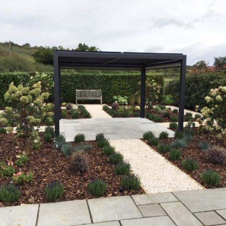 Mojave Aluminium Gazebo 350cm x 360cm Shuttered Roof & Side Screens - Hampshire