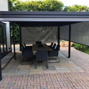 Mojave Aluminium Gazebo with roof shutters + Side screens