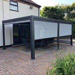 Mojave Aluminium Gazebo with roof shutters + Side screens A
