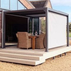 Mojave Metal Gazebo Silver Grey Aluminium Frame - Shuttered Roof - Optional Side Screens