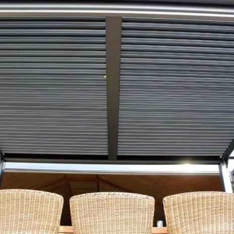Mojave Metal Gazebo - Silver Grey Aluminium Frame - Underside of shuttered roof 2