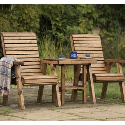 RSPB Sustainably Sourced Wooden Garden Love Seat - Companion Seat