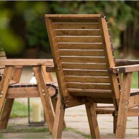 RSPB Sustainably Sourced Wooden Garden Love Seat - Companion Seat Back View