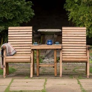 RSPB Sustainably Sourced Wooden Garden Love Seat - Companion Seat Front View
