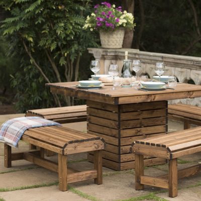 RSPB Sustainably Sourced Wooden DIning Set - Square Table + 4 Backless Benches