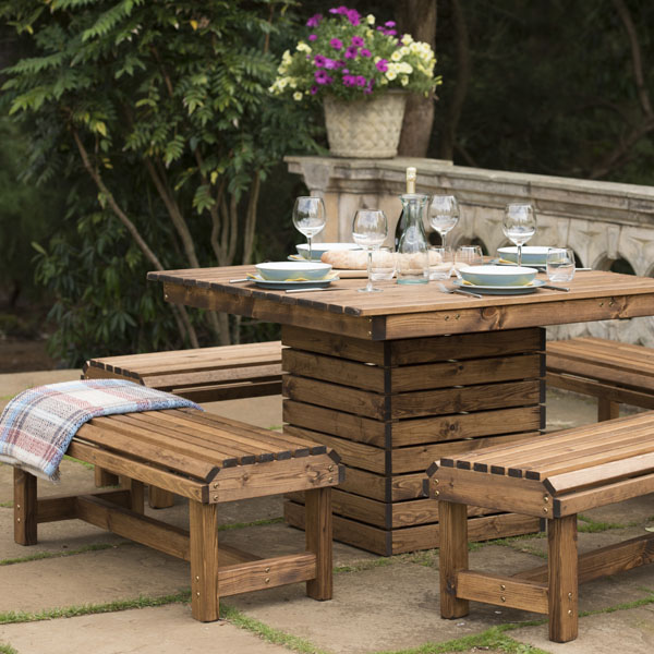 Tremendous Rspb Sustainably Sourced Wooden Garden Dining Set Square Table 4 Benches Beutiful Home Inspiration Ommitmahrainfo