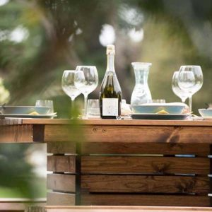 RSPB Sustainably Sourced Wooden Table + Bench Set Close Up
