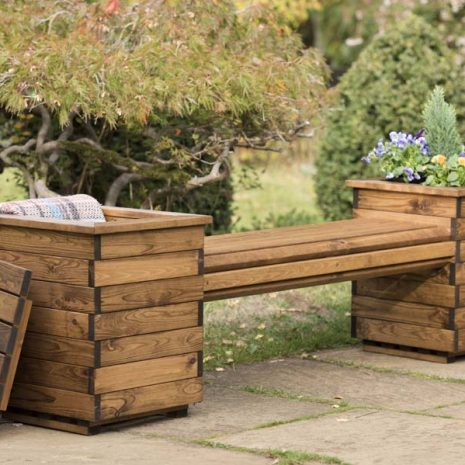 RSPB Sustainably sourced Wooden Garden Planter Bench Seat with removable lids