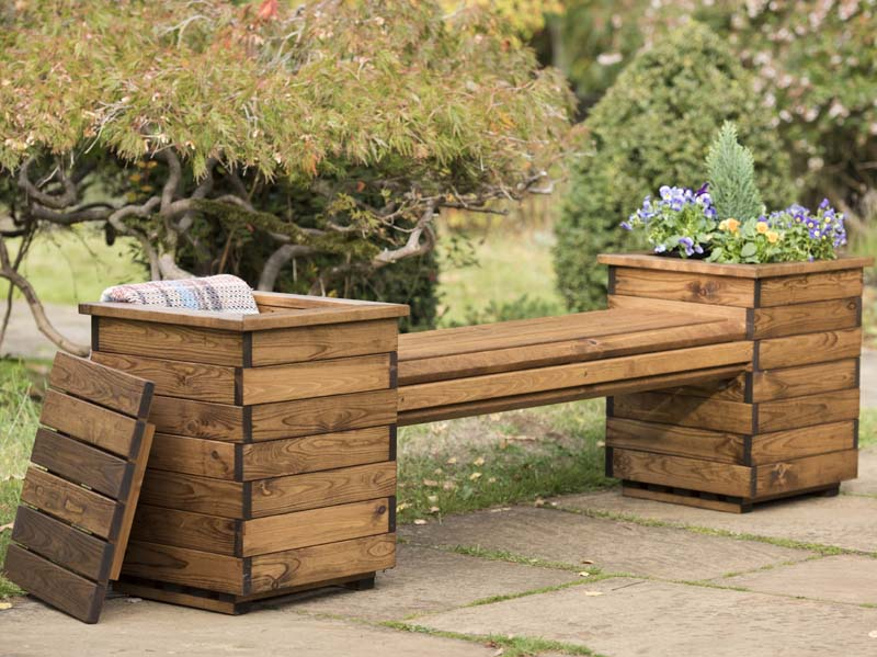 Garden Planter Bench Seat 2 Seater Sustainably Sourced Wood Rspb
