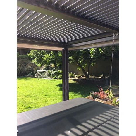 Shuttered Roof with winding mechanism - Mojave Gazebo Hot Tub Shelter With Side Screens