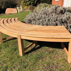 Agard Backless Curved Bench Sustainably Sourced Teak